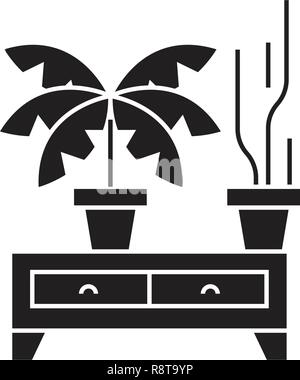 Potted plants black vector concept icon. Potted plants flat illustration, sign - Stock Photo
