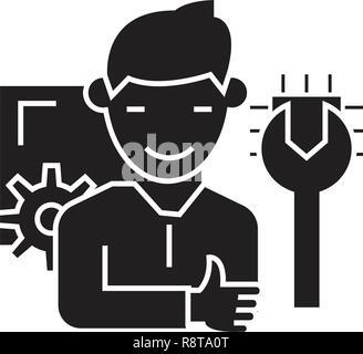 Professional service black vector concept icon. Professional service flat illustration, sign - Stock Photo
