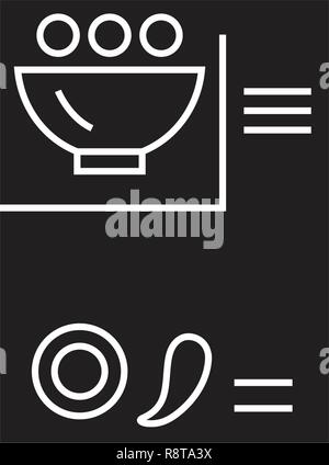 Recipe card black vector concept icon. Recipe card flat illustration, sign - Stock Photo