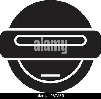 Robot emoji black vector concept icon. Robot emoji flat illustration, sign - Stock Photo
