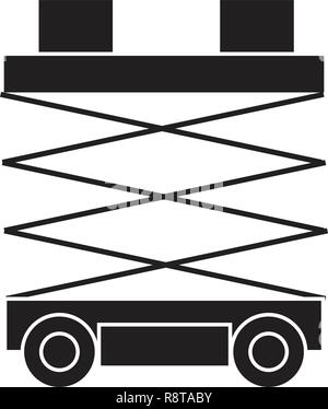Scissors lift black vector concept icon. Scissors lift flat illustration, sign - Stock Photo