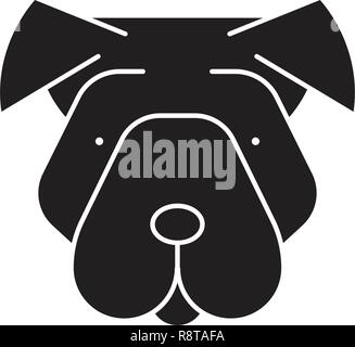 Shar pei black vector concept icon. Shar pei flat illustration, sign - Stock Photo