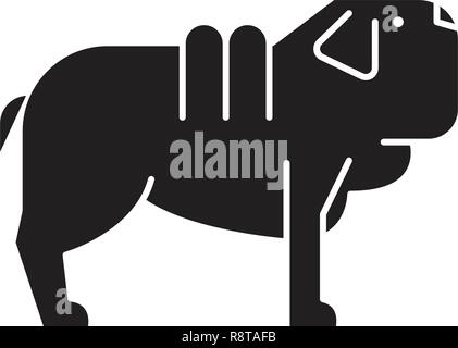 Shar pei dog black vector concept icon. Shar pei dog flat illustration, sign - Stock Photo