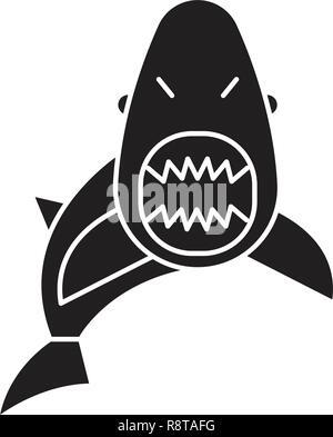Shark black vector concept icon. Shark flat illustration, sign
