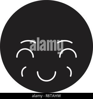 Sly emoji black vector concept icon. Sly emoji flat illustration, sign - Stock Photo