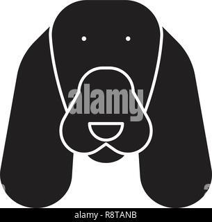 Spaniel black vector concept icon. Spaniel flat illustration, sign - Stock Photo