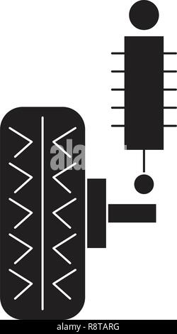 Suspension black vector concept icon. Suspension flat illustration, sign - Stock Photo