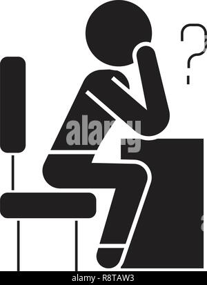 Thinking person with question black vector concept icon. Thinking person with question flat illustration, sign - Stock Photo