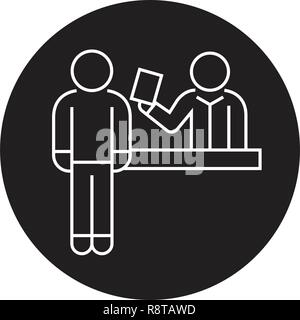 Ticket booking office black vector concept icon. Ticket booking office flat illustration, sign - Stock Photo