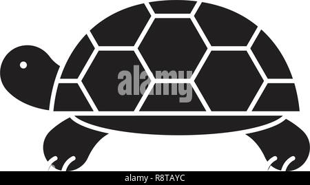 Turtle black vector concept icon. Turtle flat illustration, sign - Stock Photo