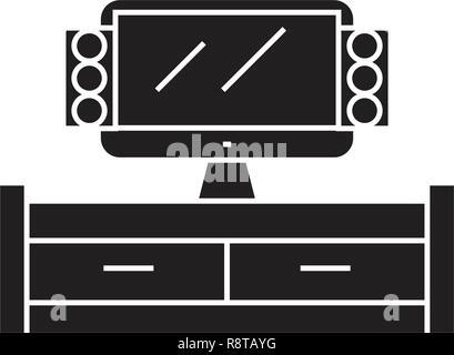 Tv cabinet black vector concept icon. Tv cabinet flat illustration, sign - Stock Photo