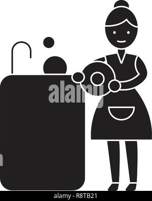 Washing dishes black vector concept icon. Washing dishes flat illustration, sign - Stock Photo