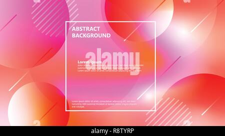 Abstract geometric background. Living coral 2019 color trend with circle shapes style. - Stock Photo
