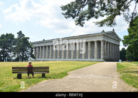 Germany, Bavaria (Bayern), Upper Palatinate, Donaustauf near Regensburg, Walhalla, Hall of Fame, monument to great Germans - Stock Photo
