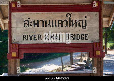 Old waiting gazibo of the Siam-Burma Railway over River Kwai in Kanchanaburi, Thailand. The infamous River Kwai bridge has become a tourist destinatio - Stock Photo
