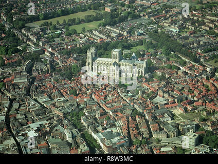 Aerial photo of the City of York showing the Minster and town centre - Stock Photo