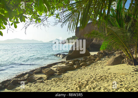 Anse Source d'Argent, La Digue-World-famous beach, and one of the most photographed spots in the whole world thanks to its amazing natural beauty - Stock Photo