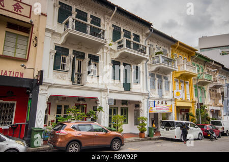 Traditional shophouses on Bukit Pasoh Road, Outram Park, Singapore - Stock Photo