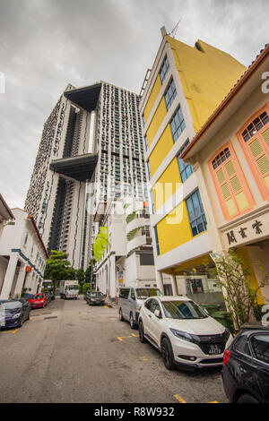 Traditional buildings on Bukit Pasoh Road, Outram Park, Singapore - Stock Photo