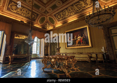 Room of the Ancient Reggia di Caserta in Italy, Royal Palace - Stock Photo