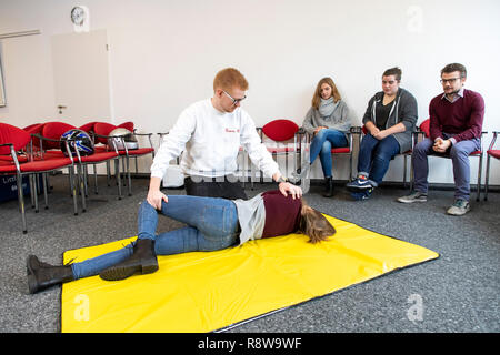 First Aid Course, First Aid Training, Emergencies, Practice Training, Stable Lateral Position, - Stock Photo