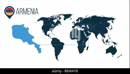 Armenia location on the world map for infographics. All world countries without names. Armenia round flag in the map pin or marker. vector illustratio - Stock Photo