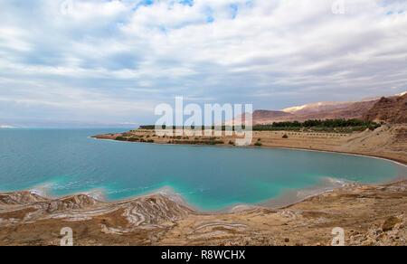 Landscape of the Dead Sea,Jordan, beautiful coast failures of the soil and the strong shallowing of the sea,illustrating an environmental catastrophe