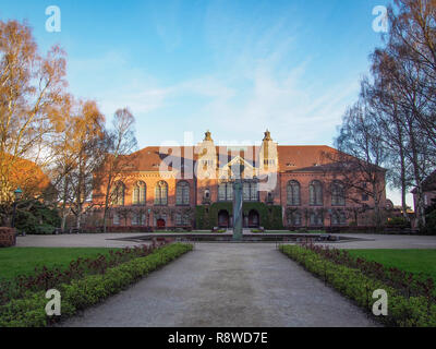 Royal Danish Library building in the Royal Library Garden in Copenhagen, Denmark in twilight - Stock Photo