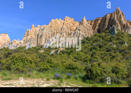 Clay Cliffs, Omarama, Canterbury, South Island, New Zealand - Stock Photo