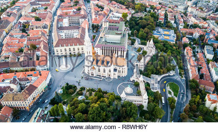 Fishermen's Bastion, Matthias Church or Mátyás Templom, Budapest, Hungary - Stock Photo