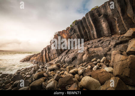 Basalt Seascape, Blackpoint, Western Australia - Stock Photo