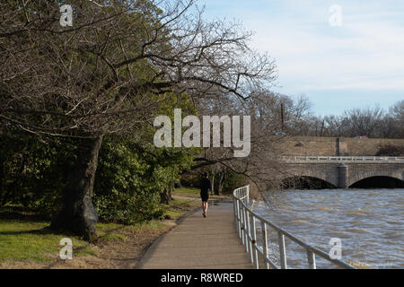 Man running on paved path around Tidal Basin in Washington DC in the evening - Stock Photo
