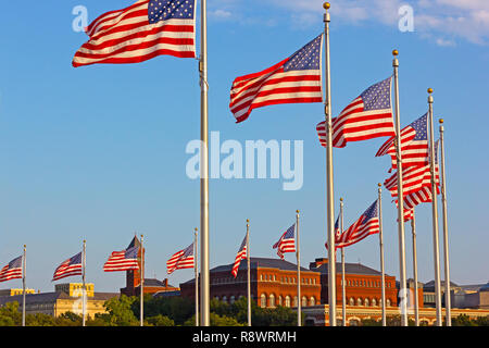 National flags with US capital panorama on background. National Mall panorama at sunset in Washington DC, USA. - Stock Photo