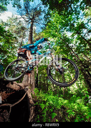 Moscow, Russia - August 27, 2017: Jump and fly on a mountain bike. Rider in action at mountain bike sport. Biker riding in forest. Cool athlete cyclis - Stock Photo