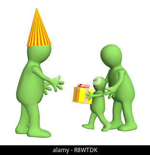 3d puppet - child,  congratulating the daddy with a holiday. Objects over white - Stock Photo