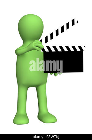 3d person puppet on shootings of film. Object over white - Stock Photo