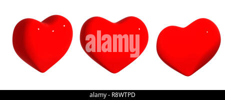 Three hearts of red color. Object over white - Stock Photo