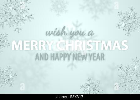 Merry Christmas and New Year typographical on holidays background with glitter snowflake, light star. Winter vector Illustration. Frosty Xmas card - Stock Photo