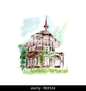 Watercolor sketch of village house. Illustration of part of the building, architecture on white background - Stock Photo