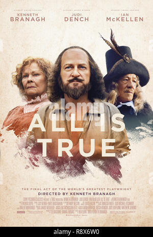 ALL IS TRUE, poster, (from left): Judi Dench (as Anne Hathaway), Kenneth Branagh (as William Shakespeare), Ian McKellen (as Henry Wriothesley, 3rd Earl of Southampton), 2018. © Sony Pictures Classics / courtesy Everett Collection