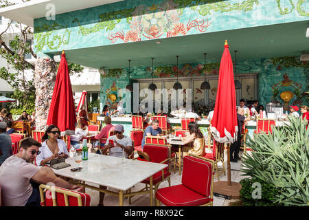 Miami Beach Florida Collins Avenue Faena hotel luxury district Veranda restaurant - Stock Photo