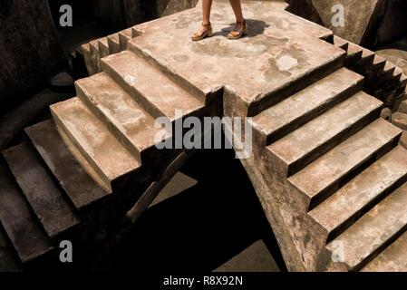 Sumur Gumuling stairways and catacombs, part of Taman Sari Complex in Yogyakarta - Stock Photo