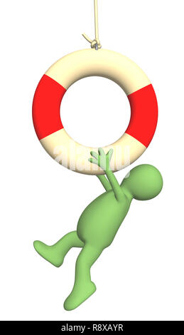Puppet hanging on a lifebuoy ring. Object over white - Stock Photo