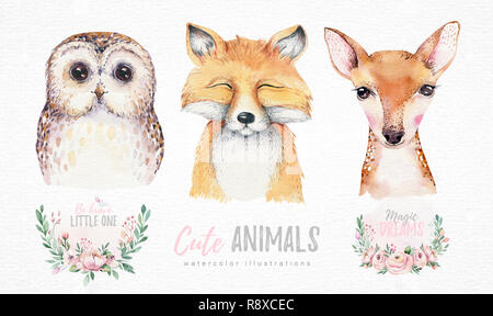 Watercolor set of forest cartoon isolated cute baby fox, deer and owl animal with flowers. Nursery woodland illustration. Bohemian boho drawing for nu - Stock Photo