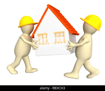 Two builders - puppets, holding in hands the stylized house - Stock Photo
