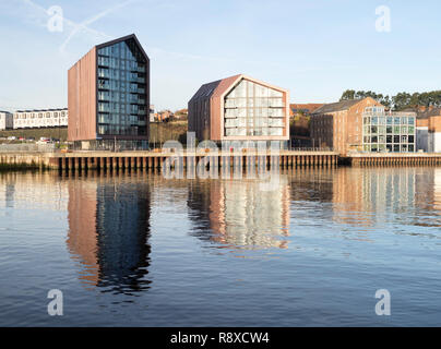 Smokehouses apartments, a residential development on the site of the old Smith's Dock in North Shields, north east England, UK - Stock Photo