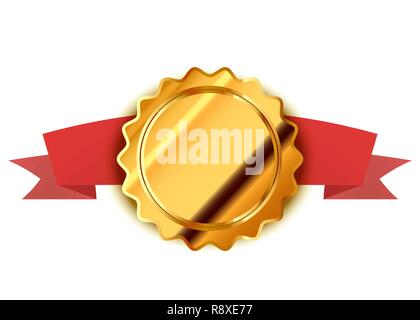 Bright gold label, retro badge with red tape isolated on white - Stock Photo