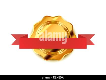 Bright gold retro label, luxury badge with red tape isolated on white - Stock Photo