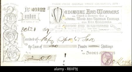 Receipt from Medieval Art Workers for Church & Domestic Use in Metal, Wood and Textile Fabrics 1889 - Stock Photo