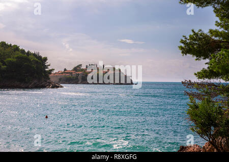 Sveti Stefan from Miločer Plaža, Montenegro - Stock Photo